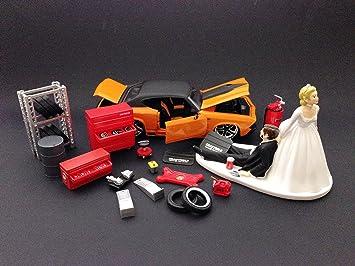 Amazon.com: Funny Auto Mechanic Funny Bride and Groom Wedding Cake ...
