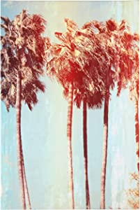 """Amazon Brand – Rivet Vintage-Look Palm Trees Turquoise and Sepia Canvas Print Wall Art , 16"""" x 24"""""""