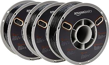 3-Spools AmazonBasics TPU 3D Printer Filament, 1.75mm, Black