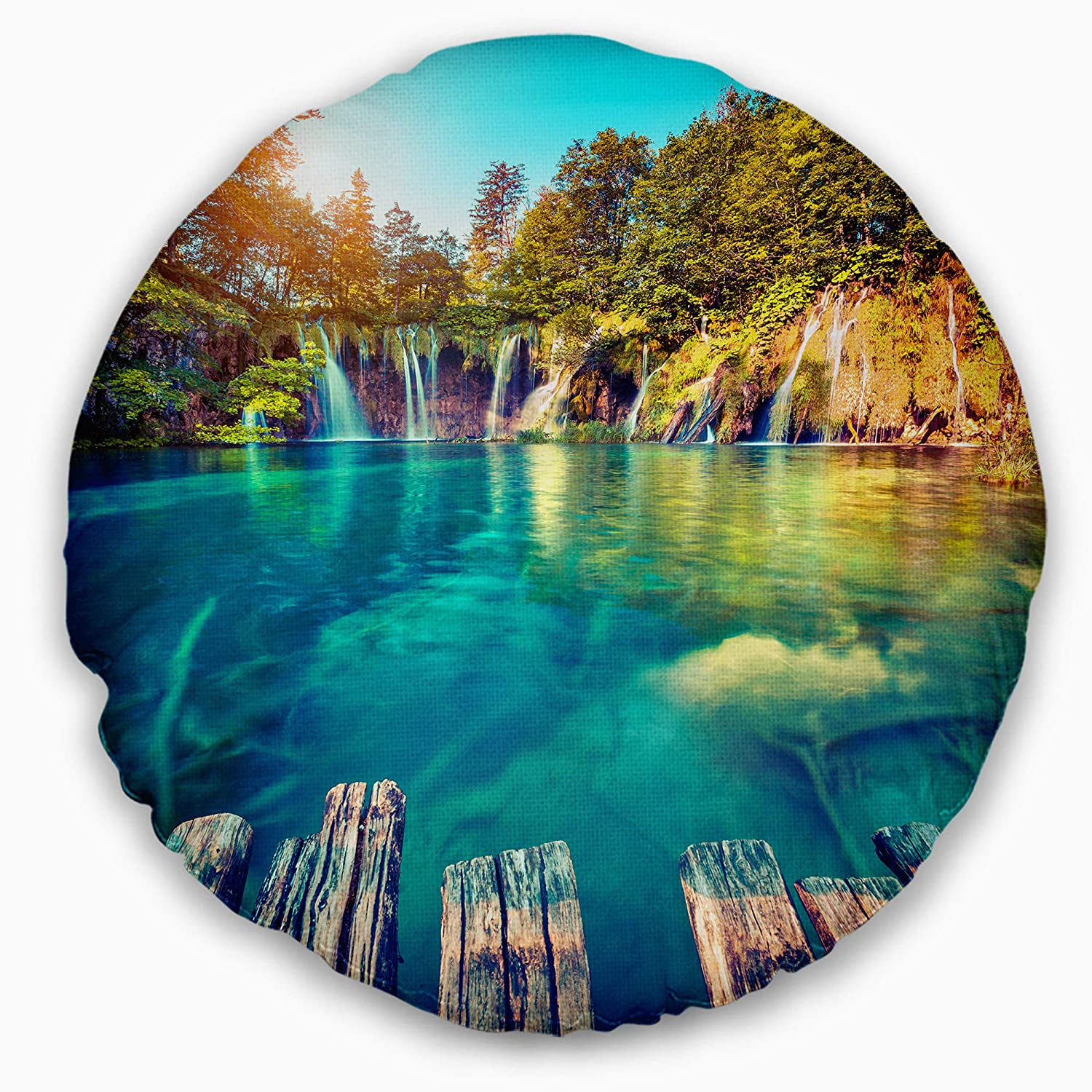 16 Designart Cu9090 16 16 C Blue Waters In Plitvice Lakes Landscape Photo Round Throw Pillow