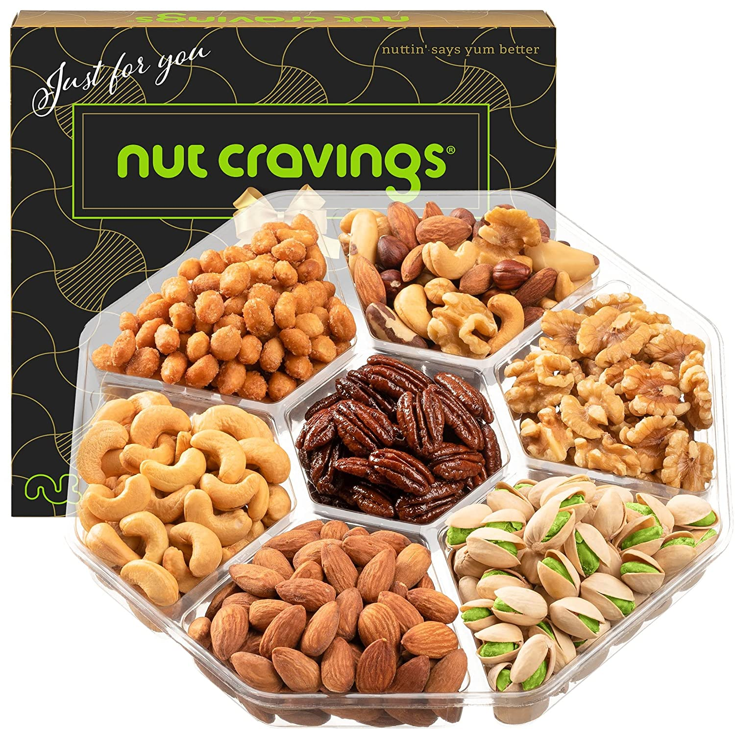 Gourmet Nut Gift Basket in Brown Box (7 Piece Assortment, 1 LB) - Fathers Day Prime Arrangement Platter, Birthday Care Package Variety, Healthy Food Kosher Snack Tray for Mom, Women, Men, Adults