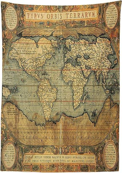 Mapa del Mundo de Yeuss Mantel,Antiguo Cuadro Antiguo Reproducción ...