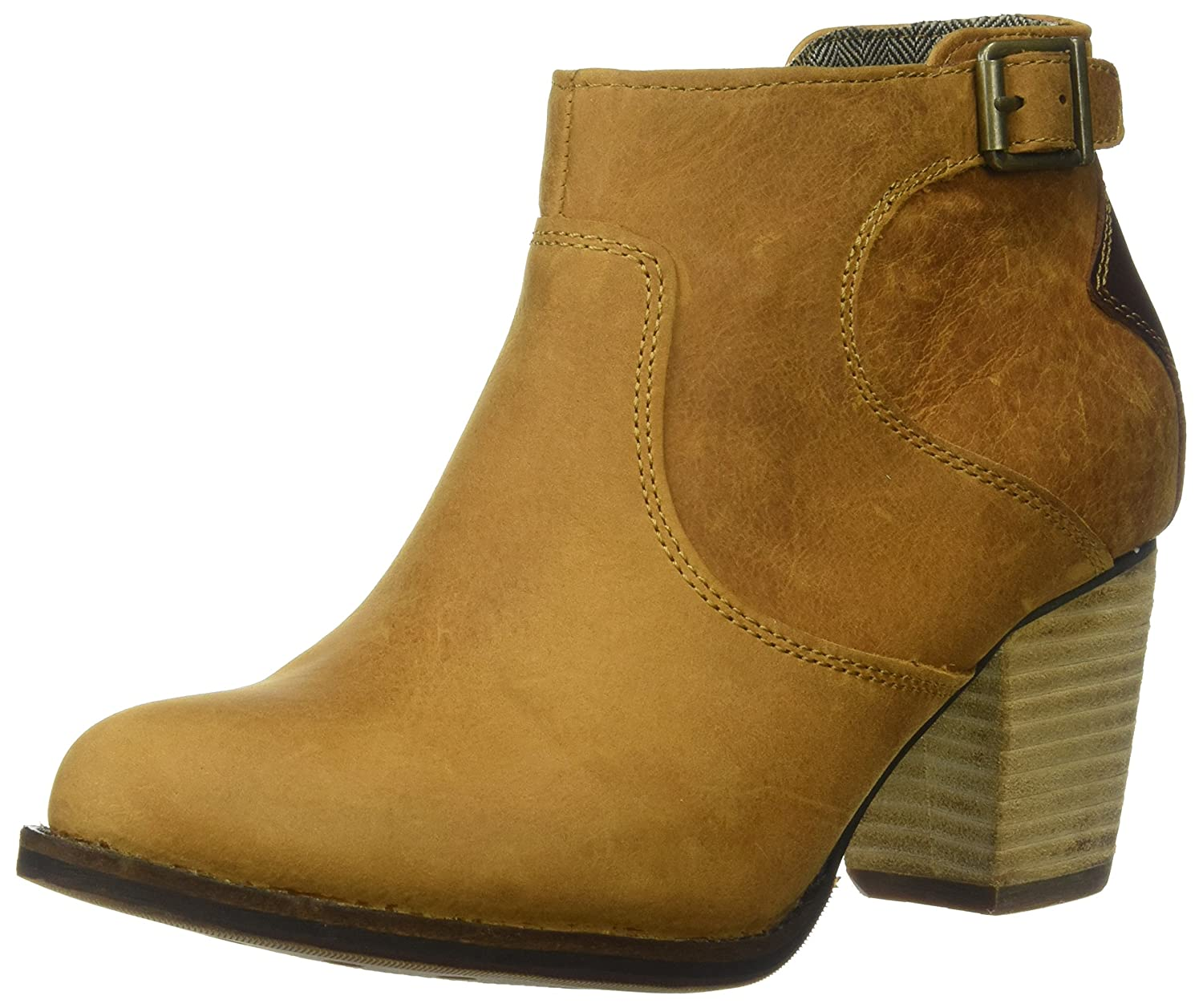 Caterpillar Women's Trestle Waterproof Leather Bootie with Side Zip Abd Stacked Heel Ankle Boot B01MXXYM27 6 B(M) US|Tan / Tater