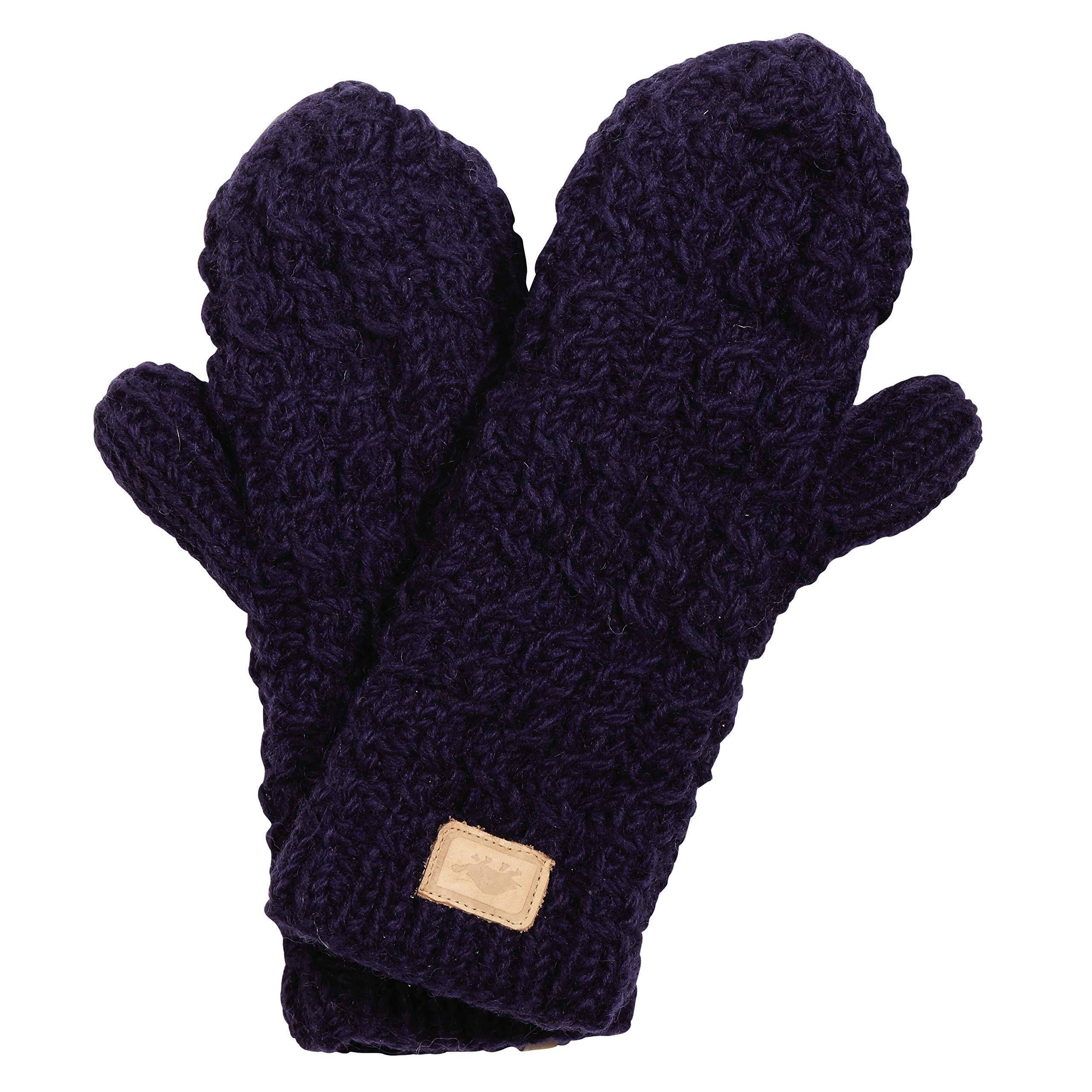 Turtle Fur Mika Mittens Nepal Hand Knit Wool Mitten Lined/Fleece Midnight