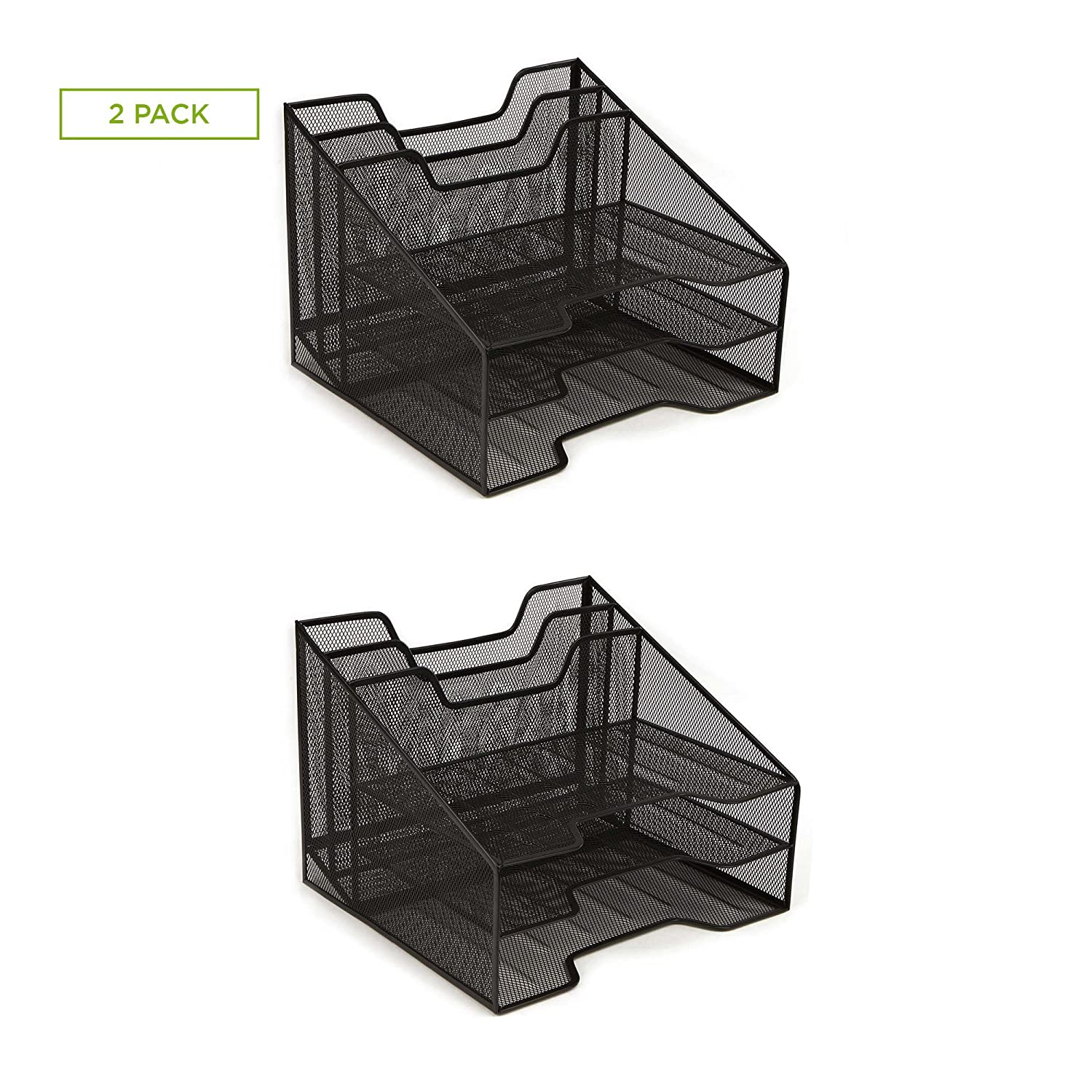 Stationary Mail Desk Accessories Mind Reader Mesh Desk Organizer 5 Trays Desktop Document Letter Tray for Folders Black