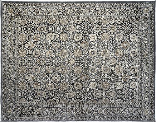 Gertmenian Oriental Rug VIII Traditional Persian Carpet, 9 x 13 X Large, Tabriz Floral Gray