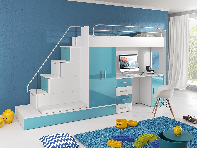 Hochbett TOMI - Schreibtisch, Schrank, Treppe und Gästebett mit ...