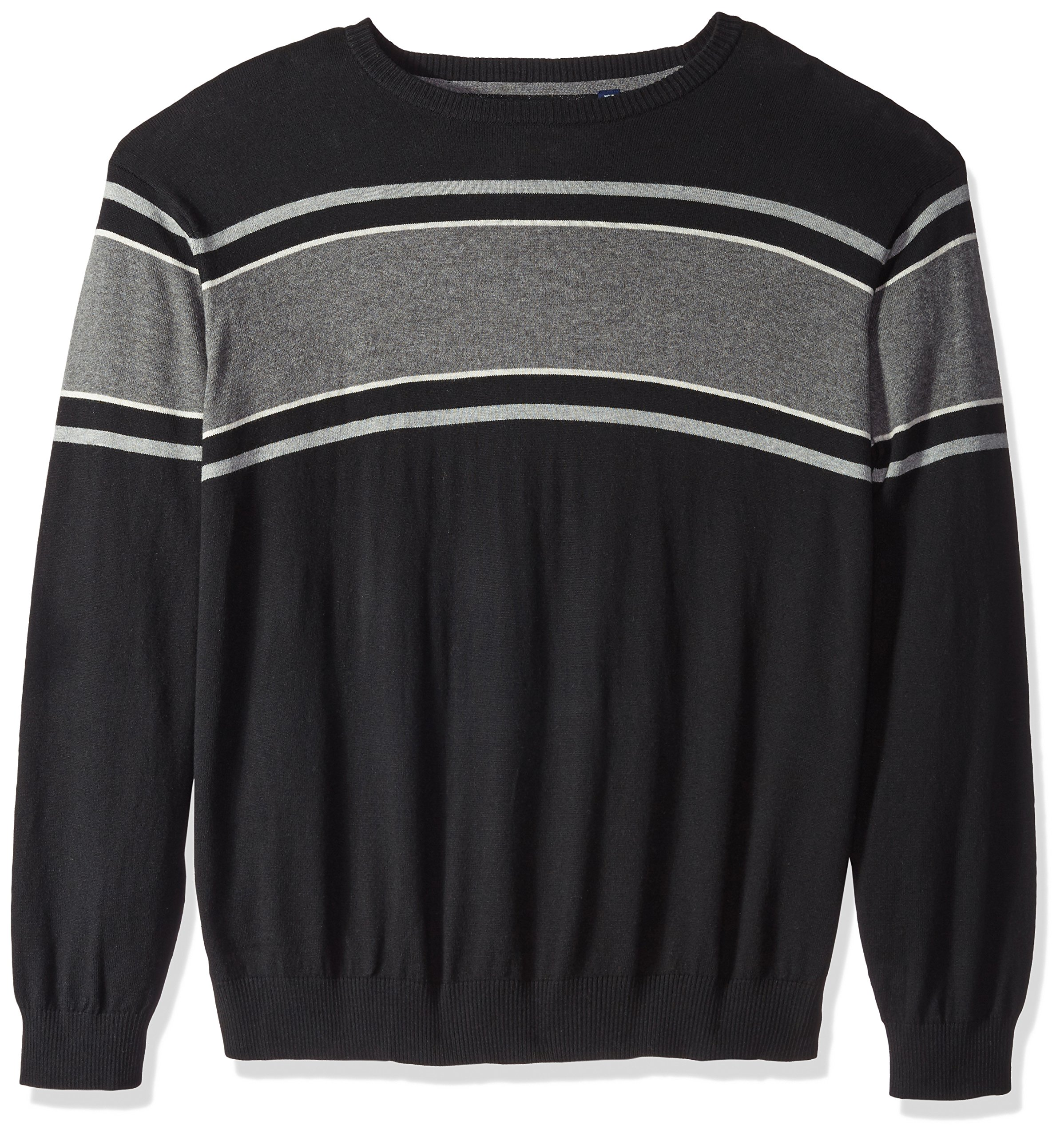 IZOD Men's Big Fine Gauge Stripe Crew Sweater, Black, X-Large Tall