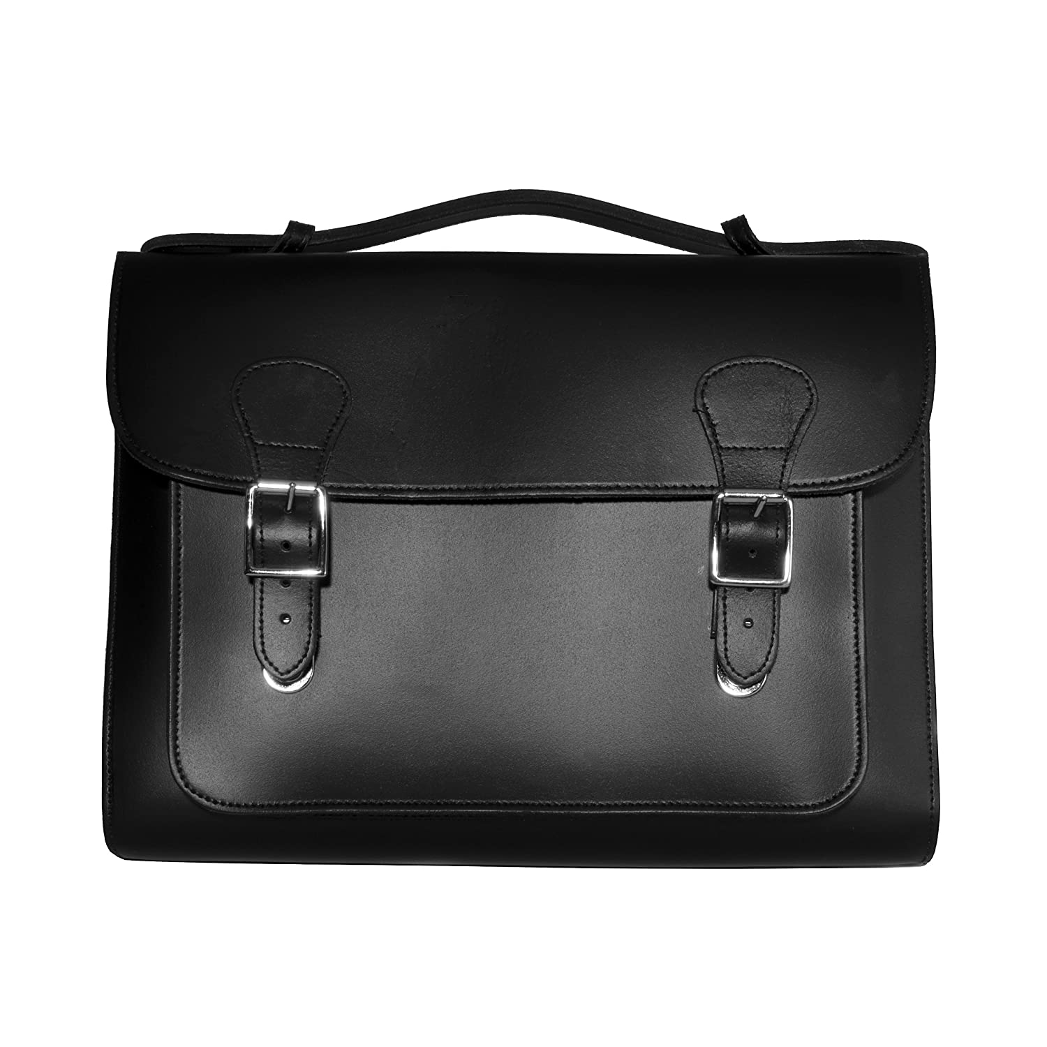 Black Leather Satchel - Made in London, England