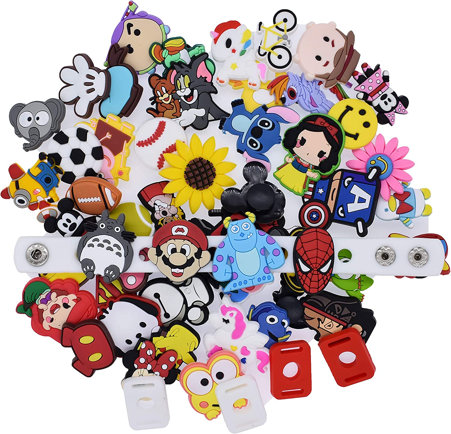 XHAOYEAHX 50,100pcs Different Random Shoes Charms Decorations with Shoe Lace Adapter & Wristband Bracelet Kids Gifts