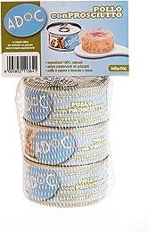 Adoc Naturale Pollo con Prosciutto per Gatti Adulti, Confezione multipack da 3 pezzi