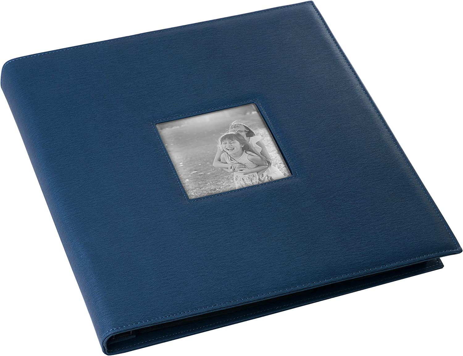 Red Co. Navy Faux Leather Family Photo Album with Front Cover Window Frame – Holds 600 4x6 Photographs