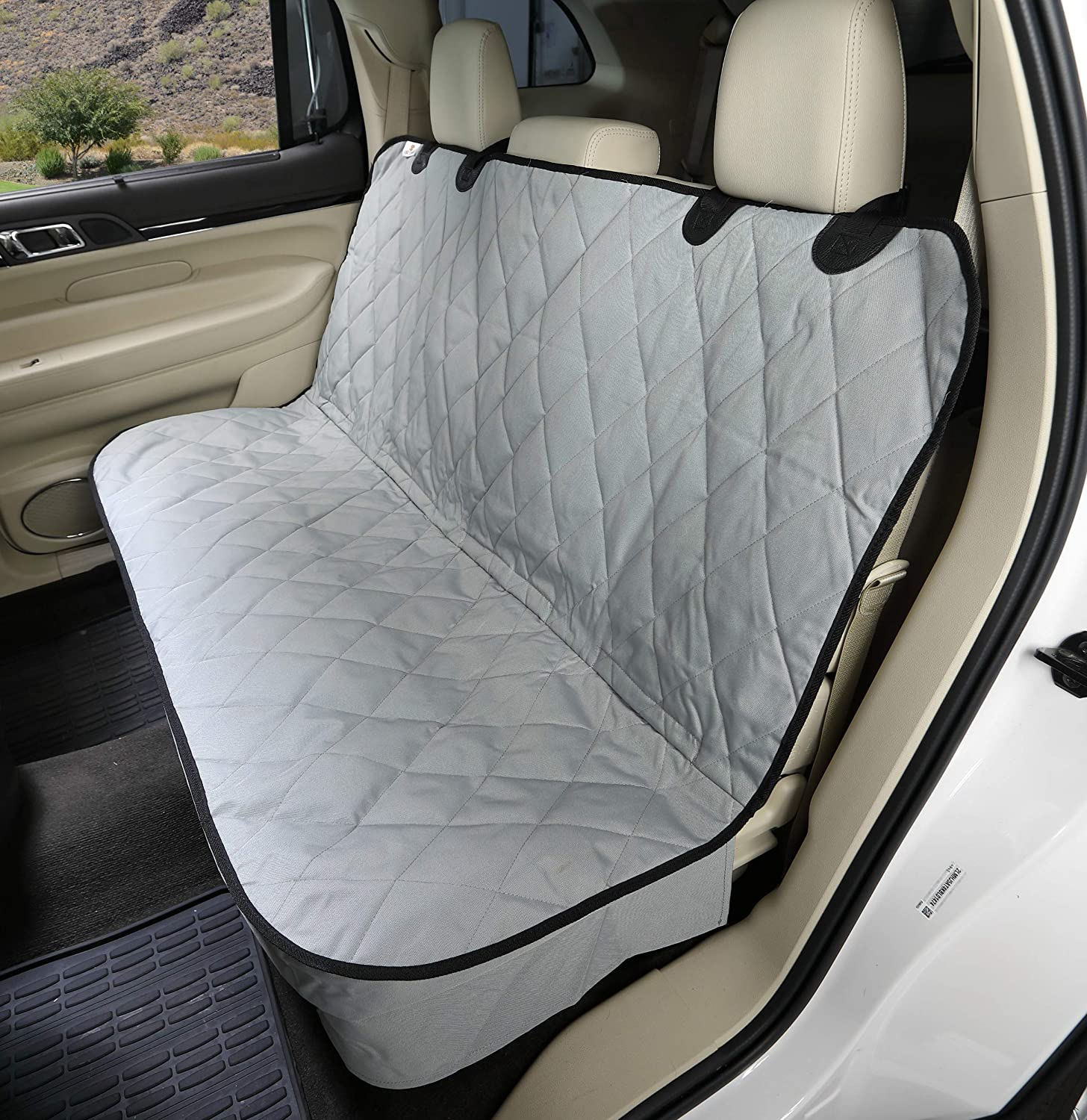Grey regular Grey regular 4Knines Fitted Rear Bench Seat Non-Slip Cover (regular, Grey)