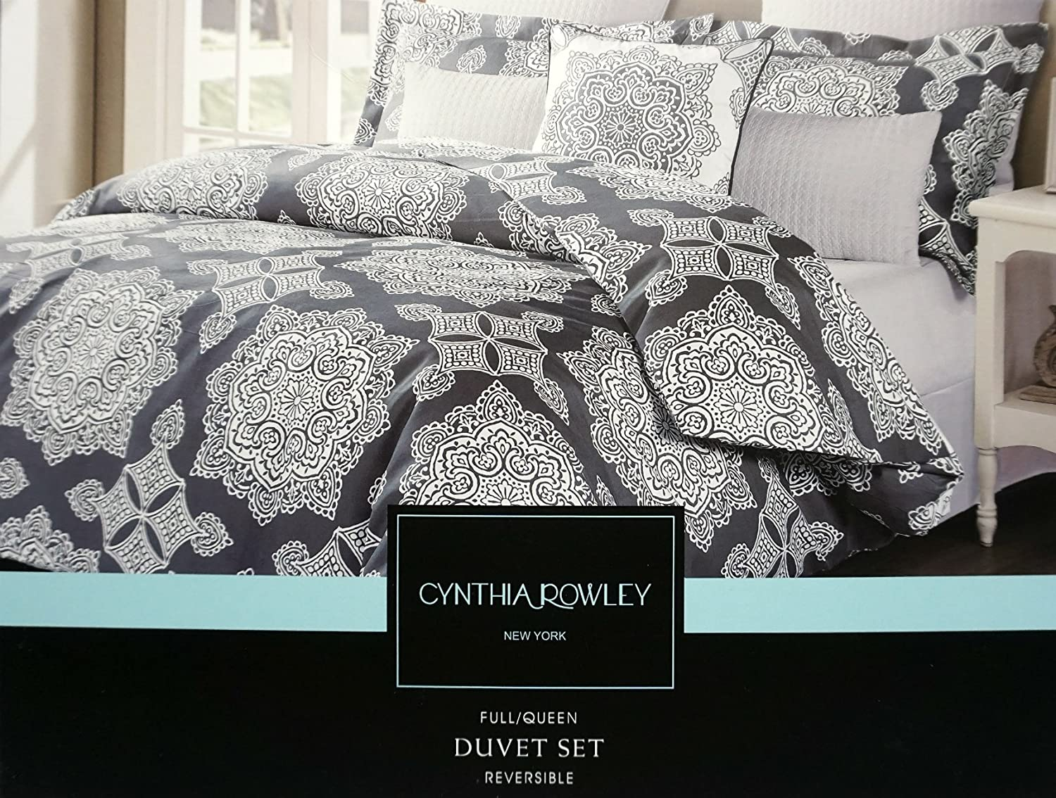 cynthia rowley full queen size duvet cover 3 piece set dark grey charcoal gray and white - Queen Size Duvet Cover