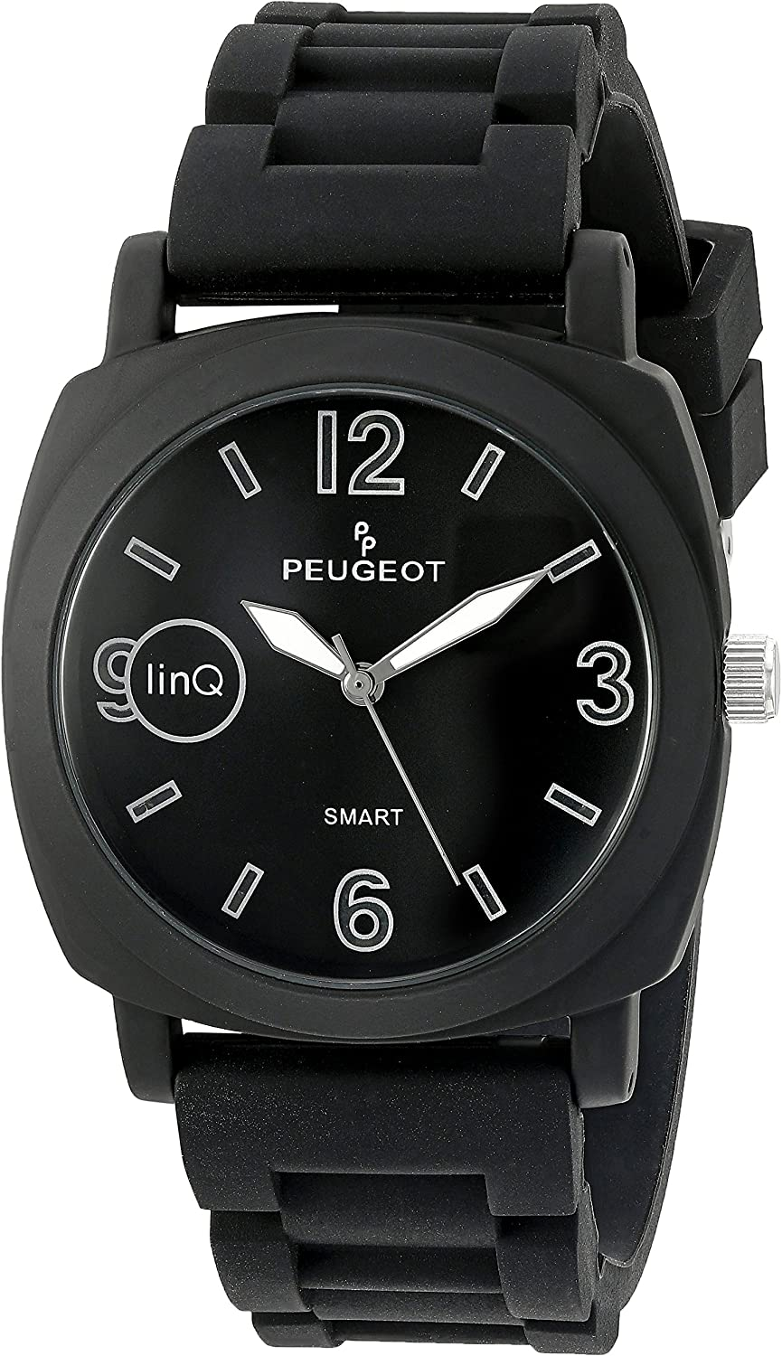 Peugeot linQ Stainless Steel Bluetooth Smart Connected to Mobile Phone Black Leather Dress Watch