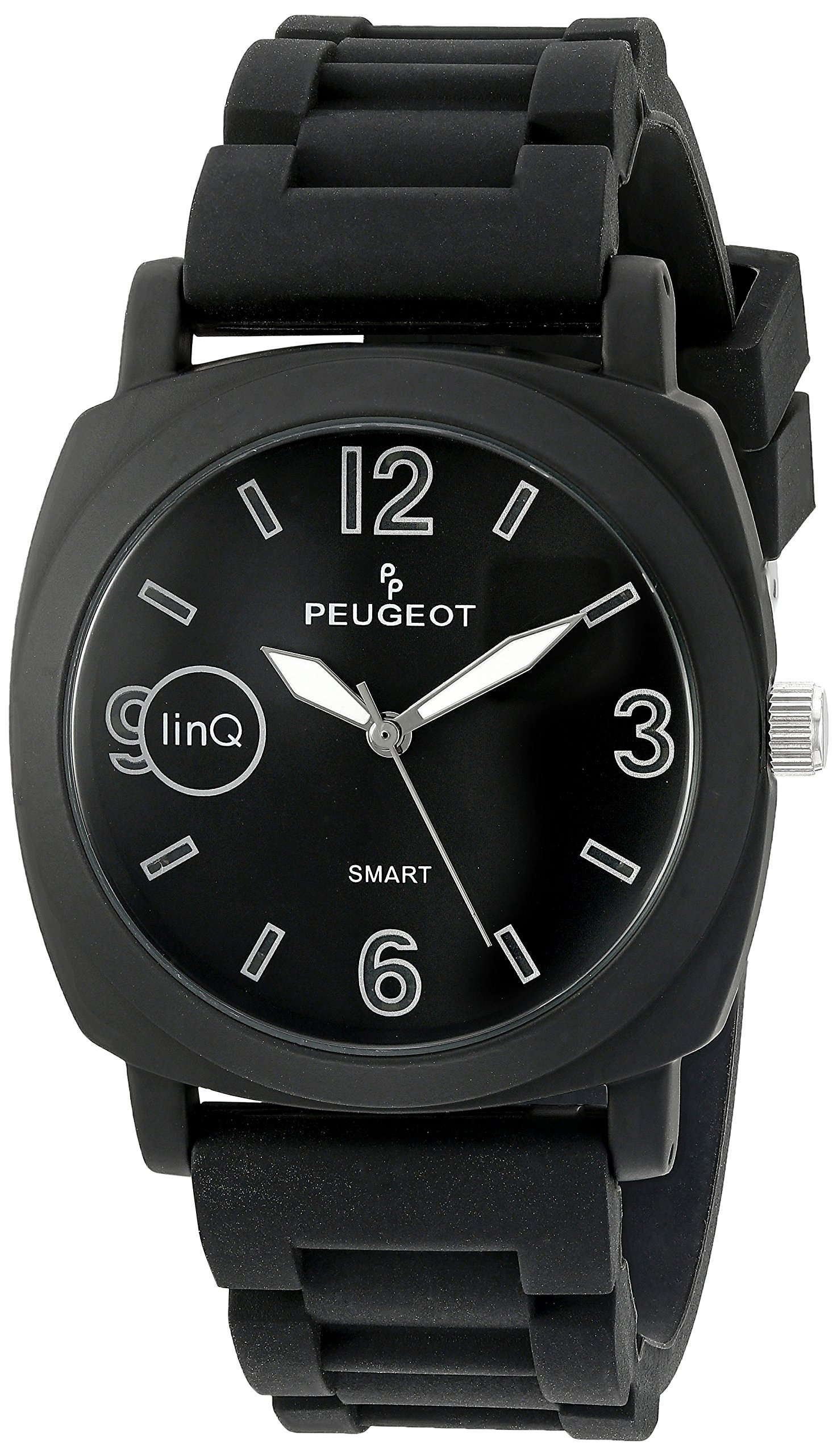 Peugeot 'Bluetooth Connected' Quartz Metal and Rubber Smart Watch, Color Black (Model: LQ1001BK)