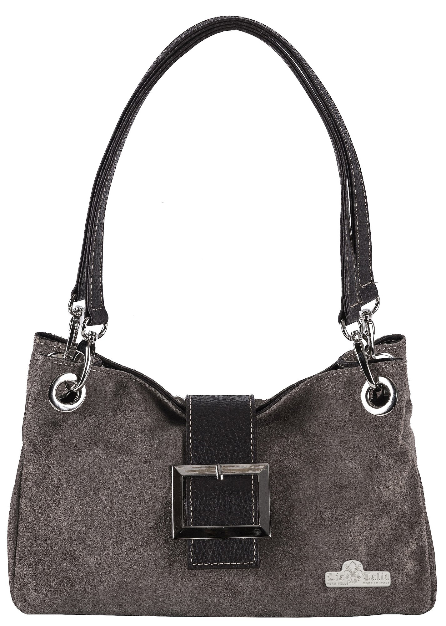 LiaTalia Real Italian Suede Small Leather Bag with Faux Trim Cotton Lining and a Protective Dust Storage Bag - Pixie [Deep Taupe - Brown Trim]