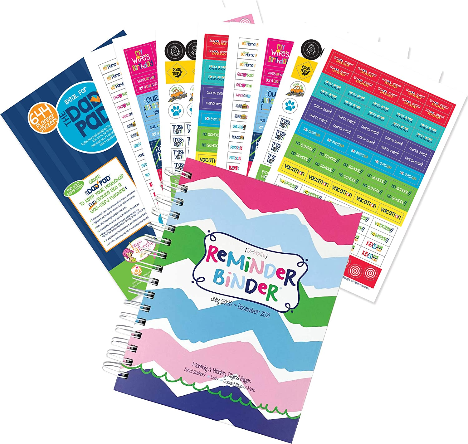 Reminder Binder 2020-2021 18-Month Planner + Sticker Set Weekly & Monthly Views, 6.5