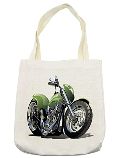 Amazon Com Lunarable Motorcycle Tote Bag Motorcycle Design With