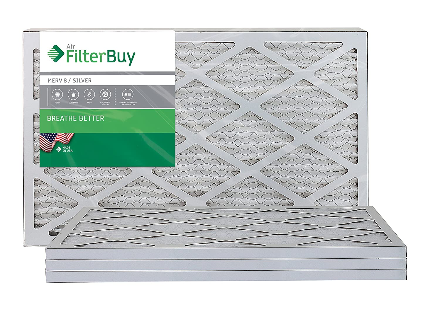 2. FilterBuy 14x25x1 MERV 8 Pleated AC Furnace Air Filter, (Pack of 4 Filters), 14x25x1 - Silver