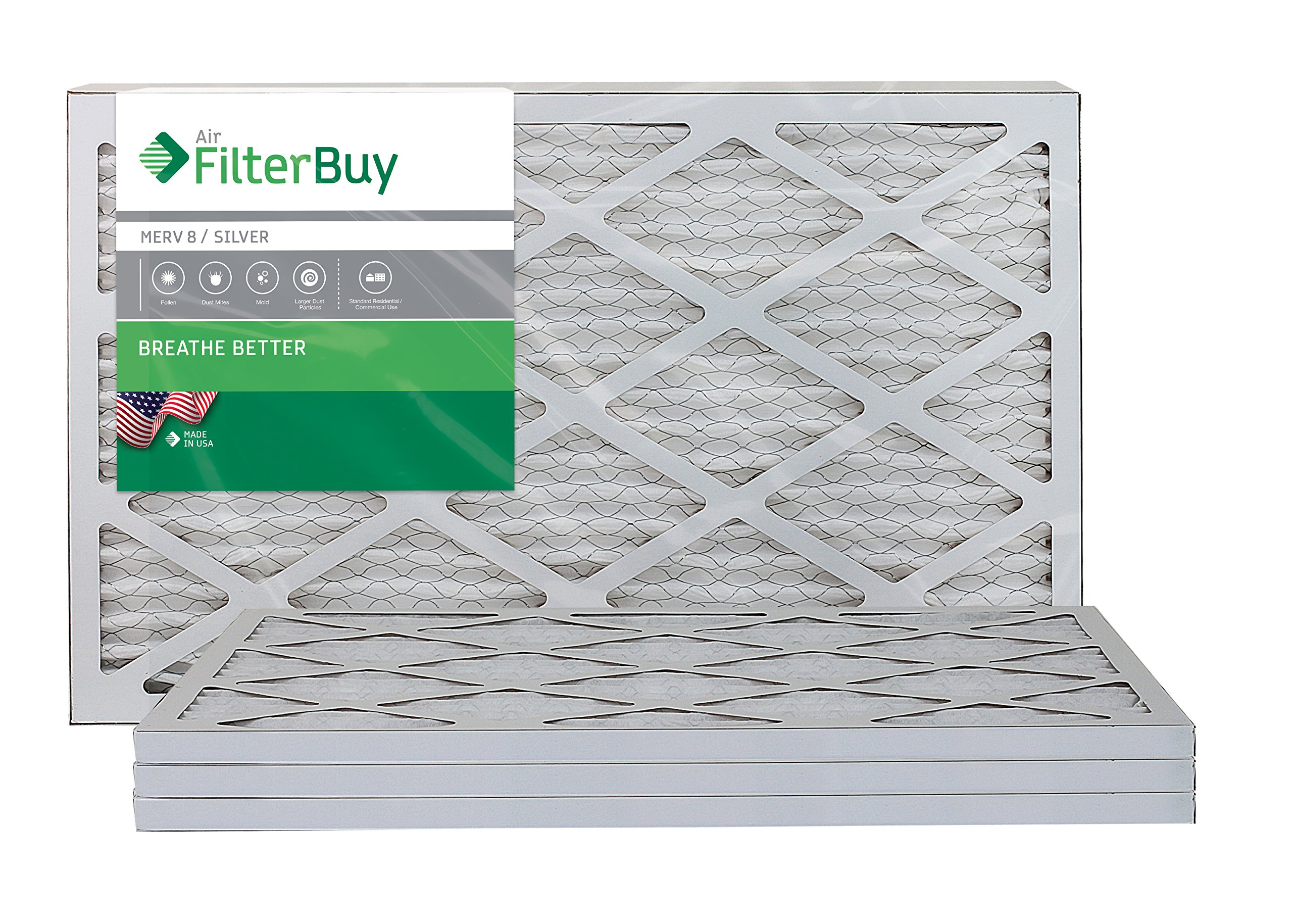 AFB Silver MERV 8 10x25x1 Pleated AC Furnace Air Filter. Pack of 4 Filters. 100% produced in the USA.