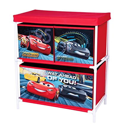 Multi Opbergkast Cars.Disney Pixar Cars 3 42663 S Storage Cabinet With 3 Drawers Red