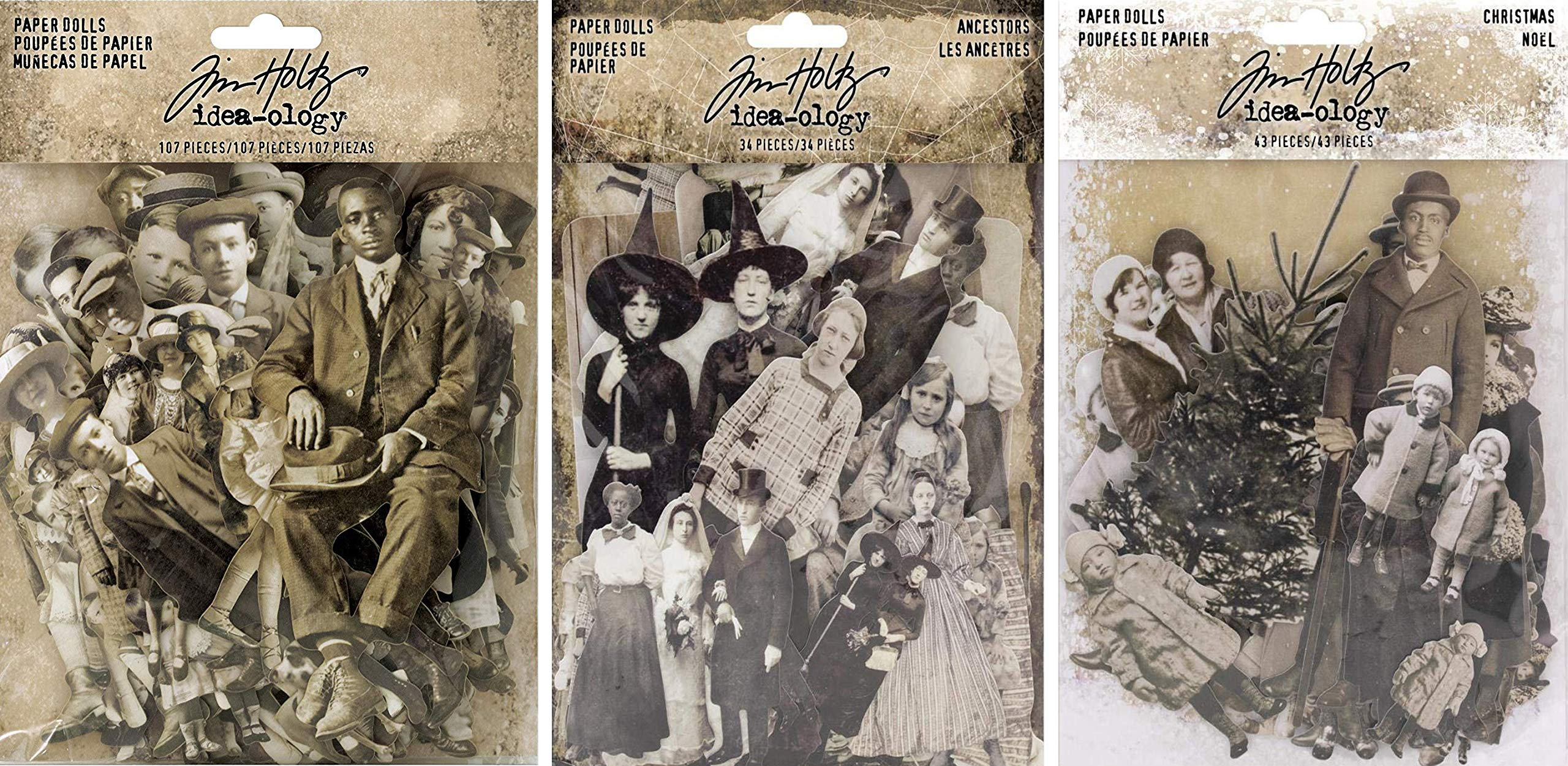 Tim Holtz Idea-Ology 2018 Paper Dolls, Ancestors Paper Dolls and Christmas Paper Dolls - 3 Item Bundle