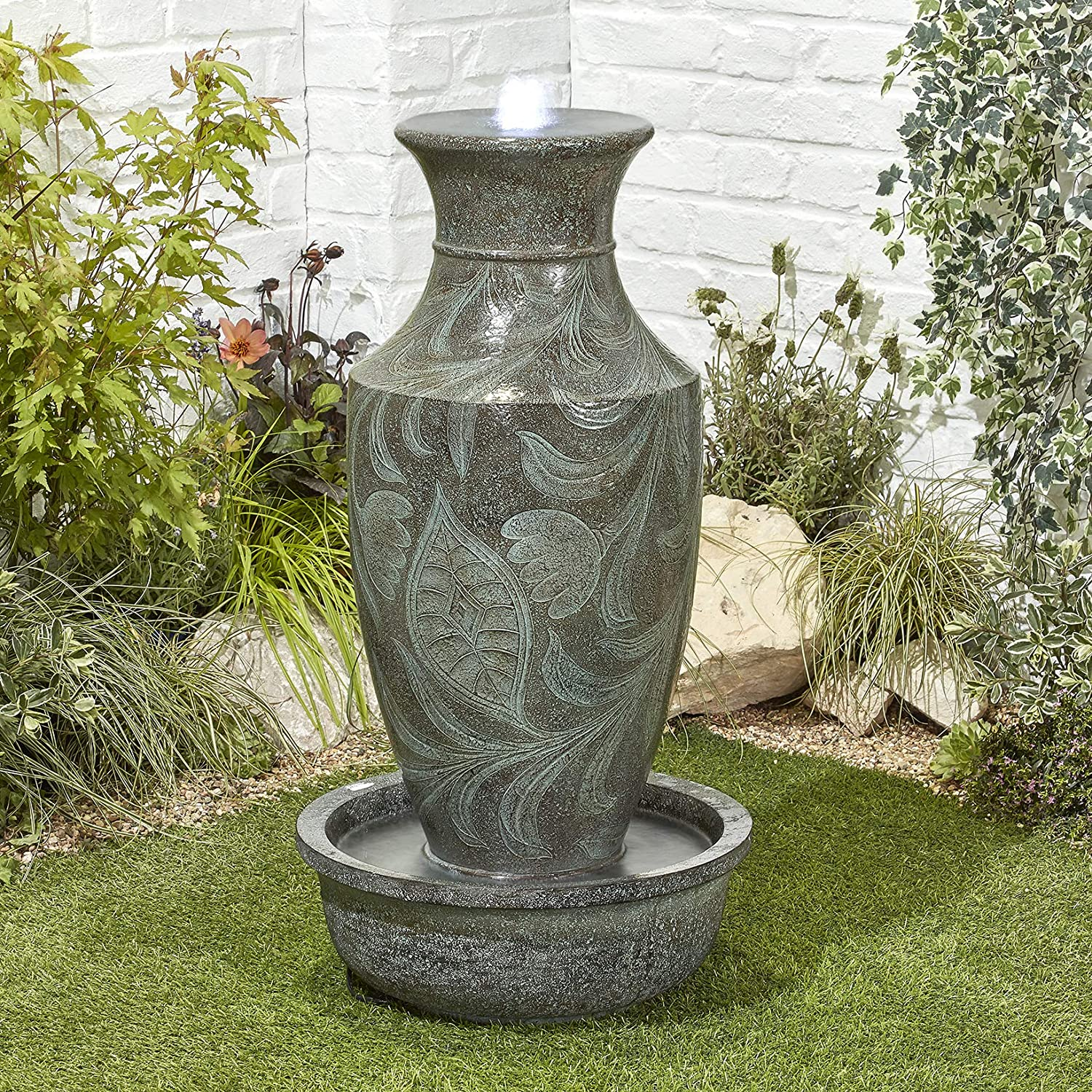 BillyOh Classic Urn Outdoor Garden Water Feature with Pump & LED lights 82x44x44cm