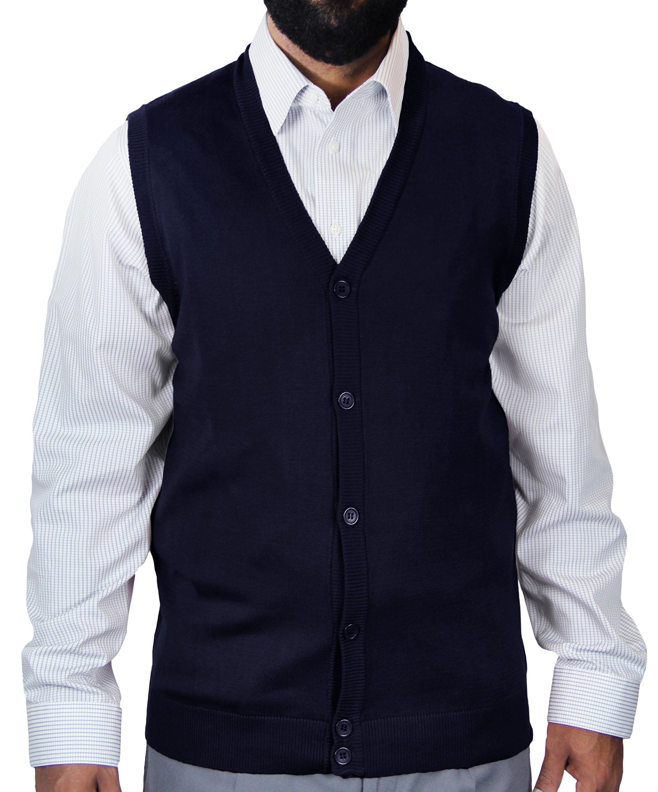 Blue Ocean Big and Tall Solid Color Cardigan Sweater Vest-6X-Large