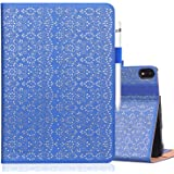 """WWW iPad Pro 11"""" 1st Generation 2018 Case,[Support Apple Pencil Charging][Luxury Laser Flower] PU Leather Case with Auto Wake"""
