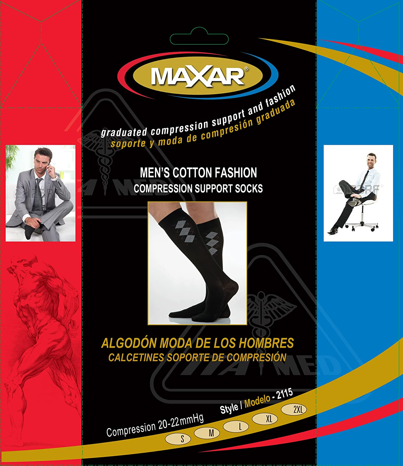 Amazon.com: Maxar Mens Fashion Cotton Compression Support Socks, Black, X-Large: Health & Personal Care