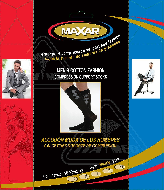 Amazon.com: Maxar Mens Fashion Cotton Compression Support Socks, Black, XX-Large: Health & Personal Care