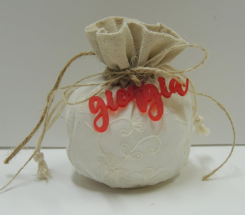 Bomboniera con confetti , sacchetto in stoffa panna , nome in plexiglas personalizzabile PACCHETTO DA 20 PZ ( per urgenze contattare il venditore )