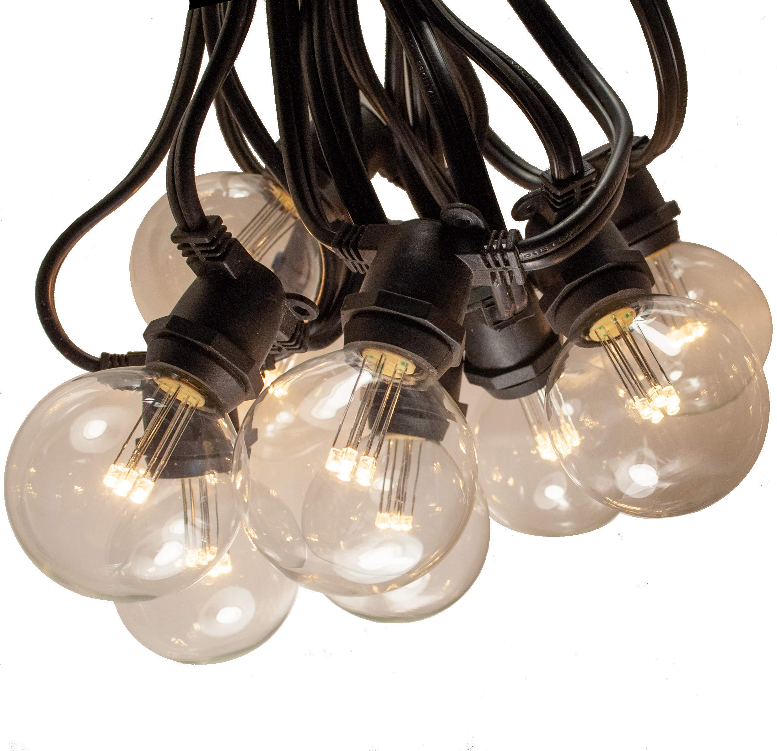 Hometown Evolution, Inc. 50 Foot C9 Commercial LED G50 Globe String Lights with 40 LED G50 Clear 2 Inch .6 Watt Bulbs and Black Wire