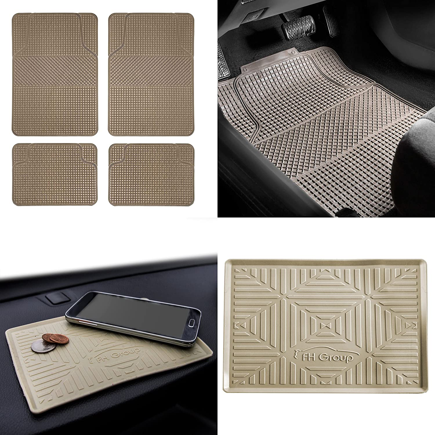 FH Group F11300 Anti-Slip Modern Checker Style All Weather Auto Floor Mats + FH3011 Silicone Anti-Slip Dash Mat, Beige-Fit Most Car, Truck, SUV, or Van