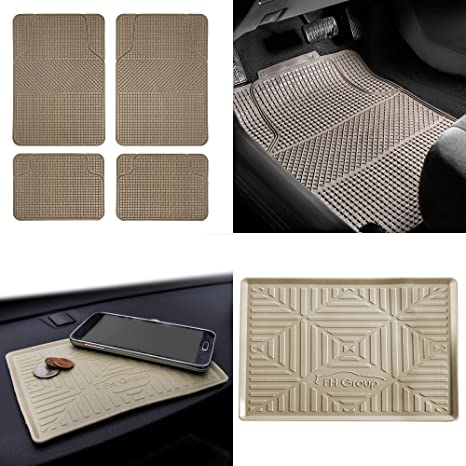 FH Group F11300 Anti-Slip Modern Checker Style All Weather Auto Floor Mats  + FH3011 Silicone Anti-Slip Dash Mat, Beige-Fit Most Car, Truck, SUV, or