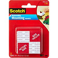 """Scotch 108 Removable Mounting Squares, 1"""" x 1"""", White"""