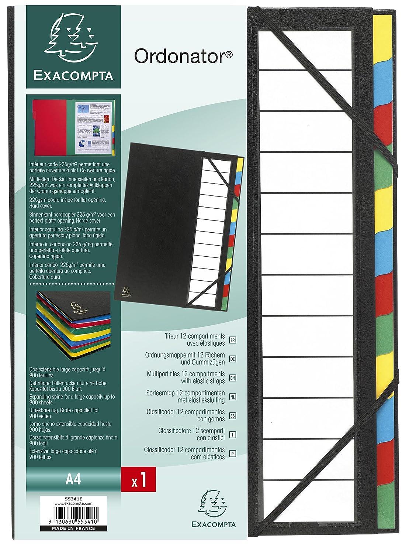 Exacompta Trieur Rigide Ordonator Dos Extensible 12 Compartiments Noir Ref 55341E