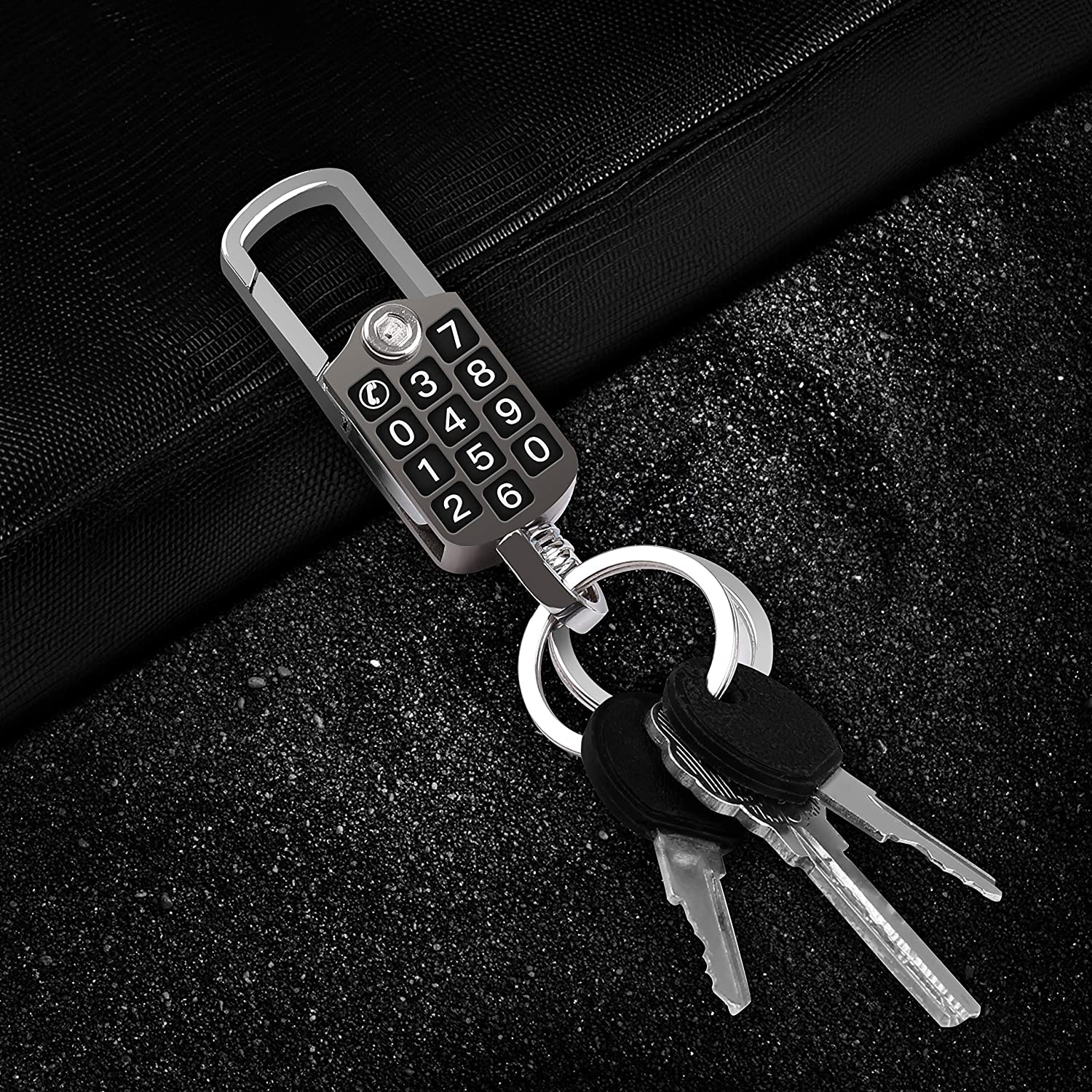 Deep Gray Intermerge Keychain 2 Key Rings Stainless Steel Key Chain with Bottle Opener and Phone Number Monitor Stainless Steel Multi-Tool for Men and Women Business Key Clip