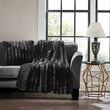 Astounding Madison Park Duke Luxury Long Fur Throw Black 50 60 Premium Soft Cozy Brushed Long Fur For Bed Coach Or Sofa Creativecarmelina Interior Chair Design Creativecarmelinacom