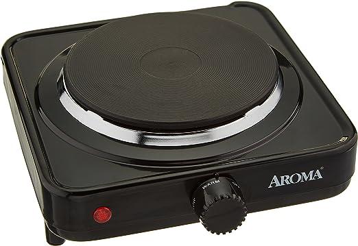 Aroma Housewares AHP-303 Single Burner Hot Plate, Black