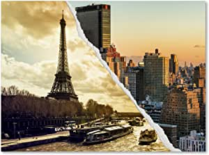 Sunset In Paris And New York By Philippe Hugonnard Wall Decor 35 By 47 Canvas Wall Art Posters Prints Amazon Com