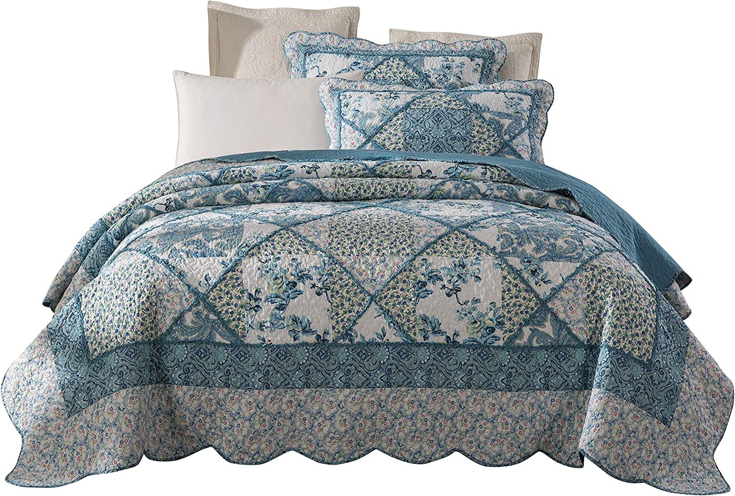 Country Farmhouse Blue Quilt Pattern Cotton Fabric Material