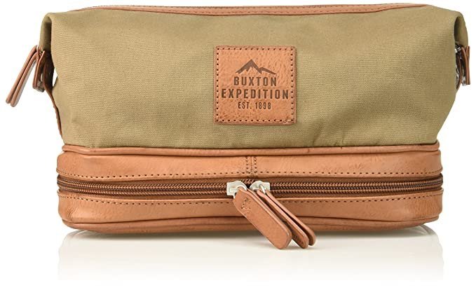 Buxton Men s Expedition Ii Huntington Gear Bottom Zip Canvas Travel Kit e4cada660cb90