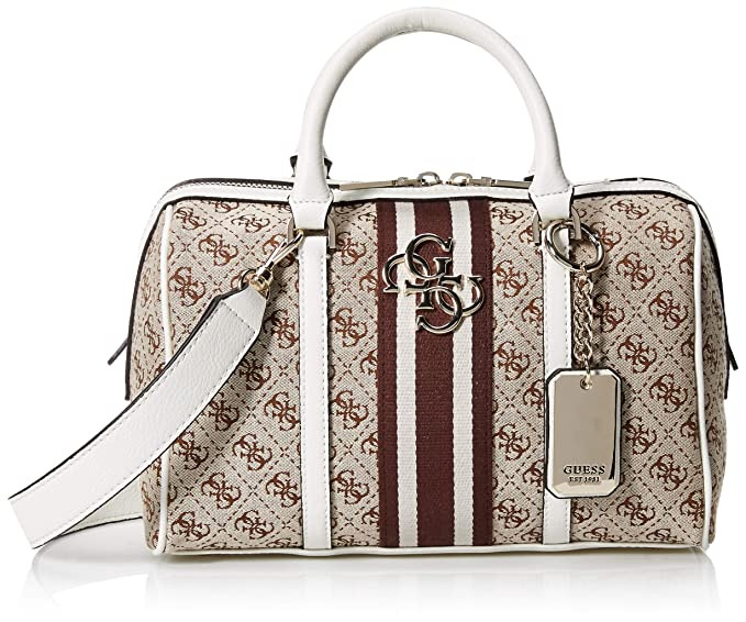 Guess BORSA BAULETTO VINTAGE BOX SATCHEL TESSUTO ECOPELLE BEIGE WHITE DONNA  BS19GU53  Amazon.it  Scarpe e borse 745d89572ca