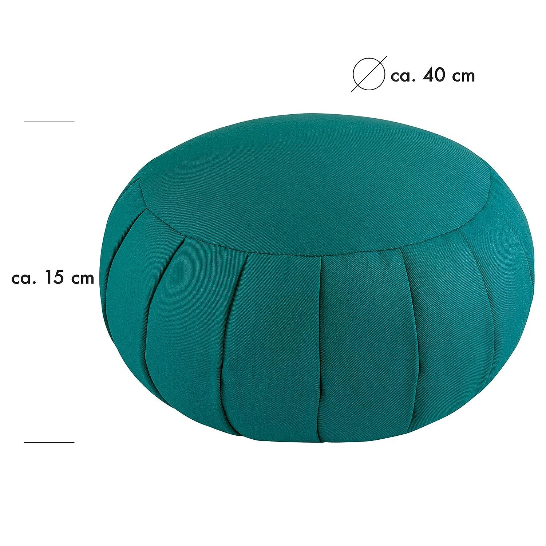 3kg Farbe: Petrol Gewicht: ca Grinscard /Ø 40 cm x 15 cm Hoch ca Meditationskissen Zafu aus Baumwolle gef/üllt mit Buchweizenschalen