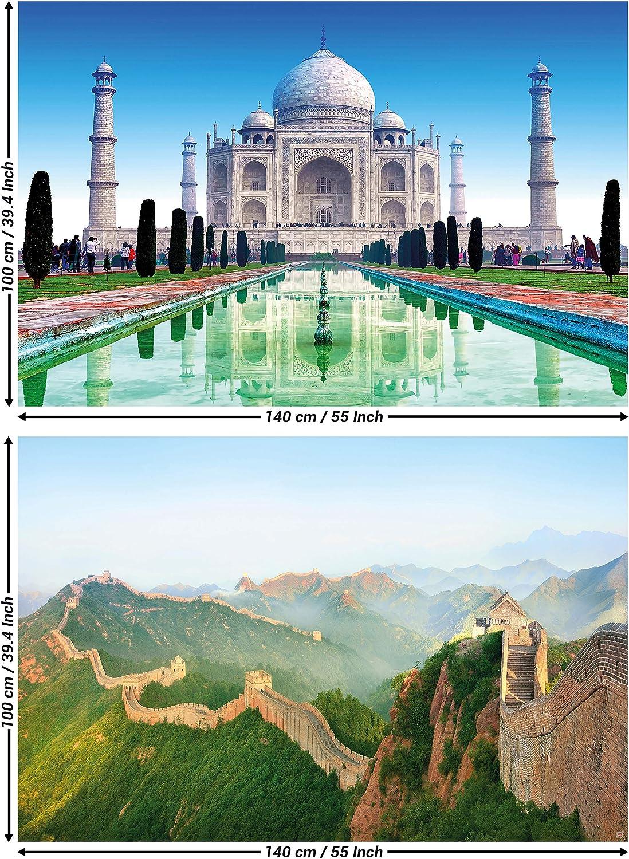 GREAT ART set de 2 posters XXL - edificios culturales - Taj Mahal & Great Wall China India templo paisaje jardín tumba frontera pared imagen decoración de la pared (140 x 100
