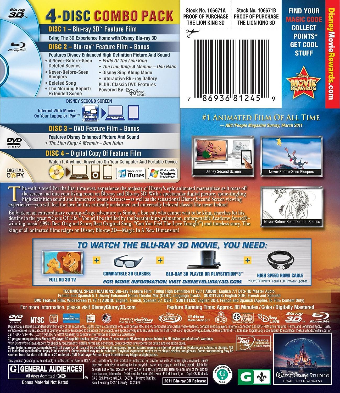 Amazon com: The Lion King (Four-Disc Diamond Edition Blu-ray 3D