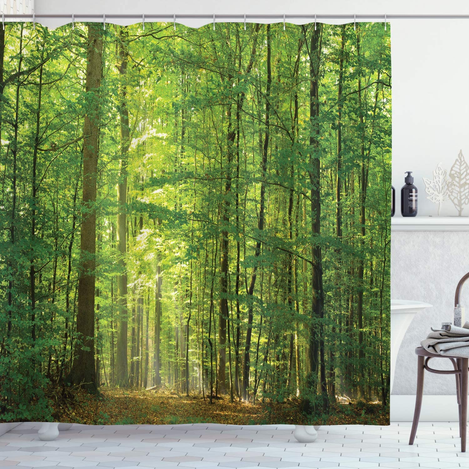 """Ambesonne Woodland Shower Curtain, Deciduous Forest Trees in Summertime Foliage Sun Rays Romantic Holidays Scenic Image, Cloth Fabric Bathroom Decor Set with Hooks, 70"""" Long, Green Yellow"""