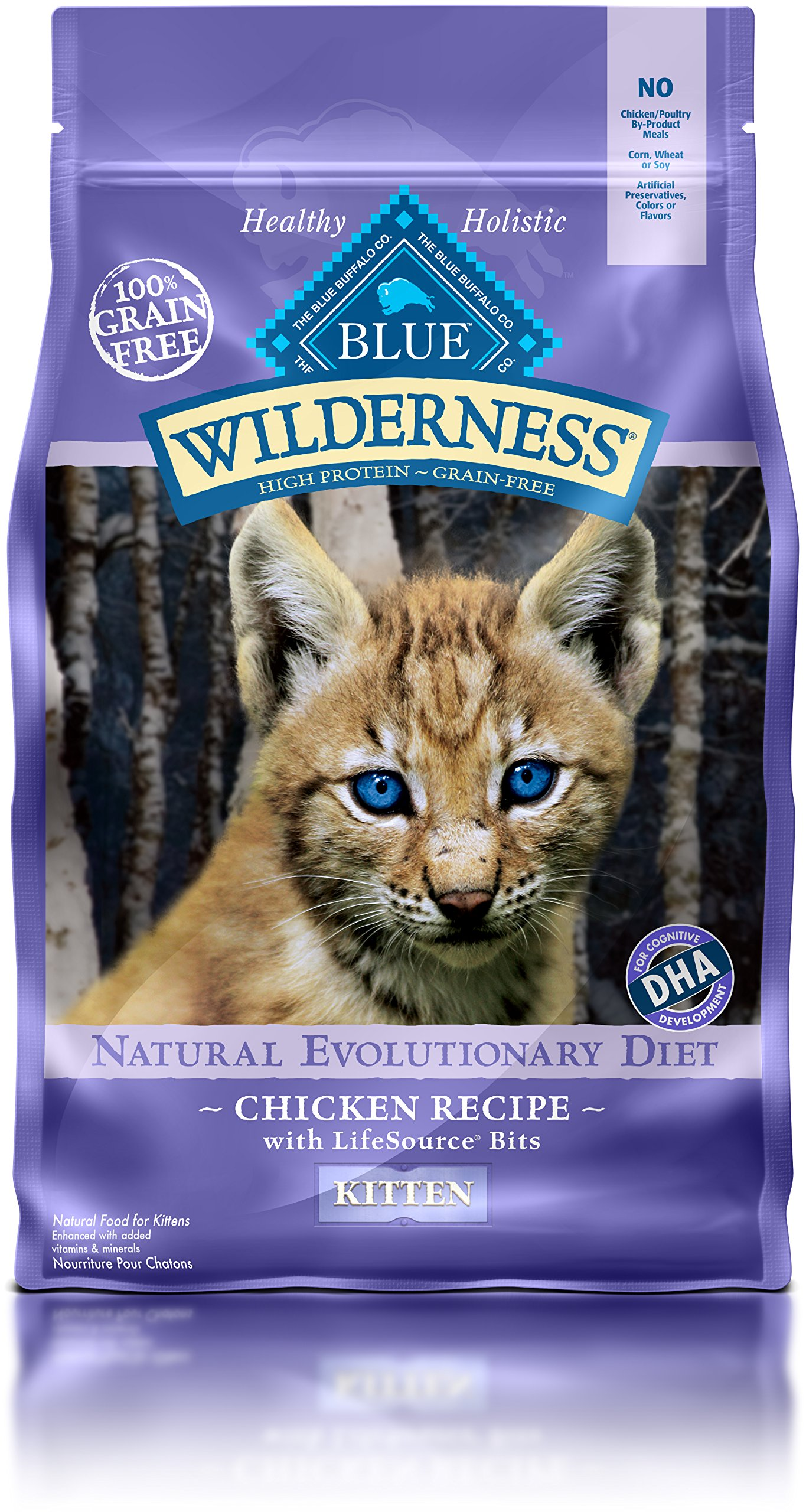 Blue Buffalo Wilderness High Protein Dry Kitten Food Chicken Grain Free 5 LB